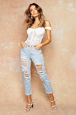 Mid Rise All Over Ripped Boyfriend Jeans