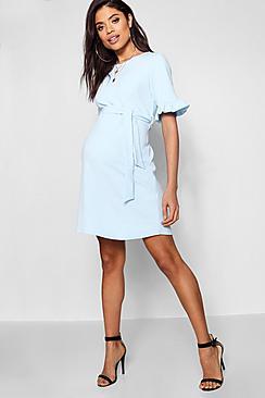 Maternity  Ruffle Tie Waist Smock Dress