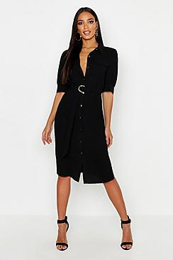 Puff Sleeve Utility Midi Shirt Dress