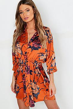 Floral Print Luxe Shirt Dress