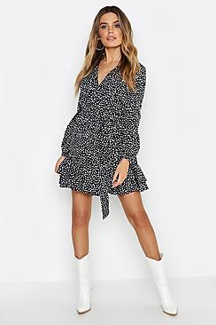 Wrap Front Ruffle Hem Tea Dress