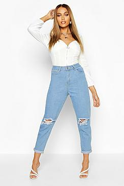 Se  Mid Rise Distressed Boyfriend Jeans ved Boohoo.com