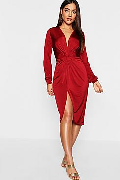 Disco Slinky Twist Front Wrap Dress