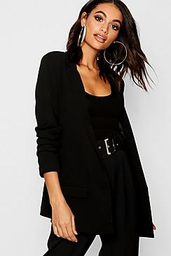 Se  Ruched Sleeve Tailored Blazer ved Boohoo.com