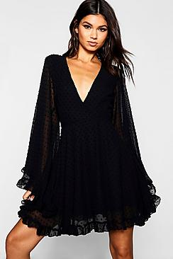 Dobby Chiffon Wide Sleeve Skater Dress