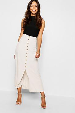 Se  Mock Horn Button Through Midi Skirt ved Boohoo.com