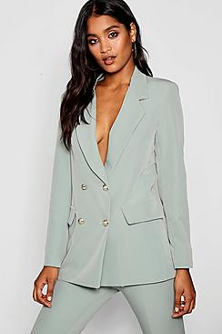 Double Breasted Boxy Military Blazer