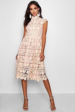 Boutique Lace Midi Skater Bridesmaid Dress