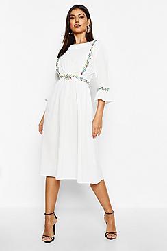 Embroidered Ruffle Sleeve Midi Dress
