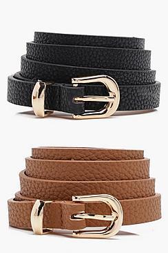 Se  Skinny Belts 2 Pack ved Boohoo.com