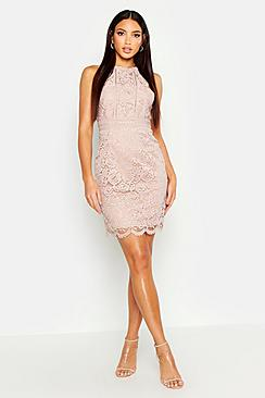 Boutique  Lace Racer Neck Bodycon Dress