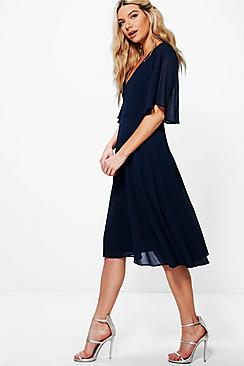 Chiffon Angel Sleeve Midi Skater Bridesmaid Dress