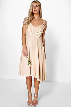 Chiffon Lace Midi Skater Bridesmaid Dress