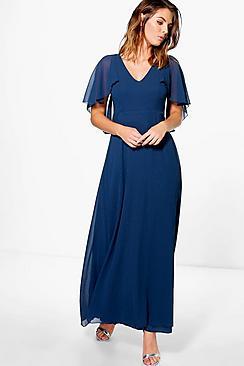 Chiffon Cape Sleeve Maxi Bridesmaid Dress