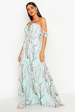 Se  Floral Off The Shoulder Maxi Dress ved Boohoo.com