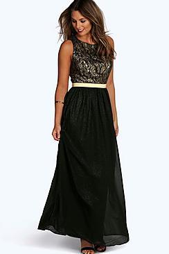 Boutique  Lace & Metallic Maxi Dress