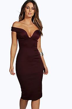 Sweetheart Off Shoulder Bodycon Midi Dress