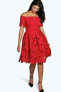 Boutique Off Shoulder Lace Skater Dress