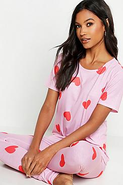 All Over Valentines Heart Print PJ Set
