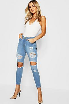 Petite One Button Distressed Skinny Jeans