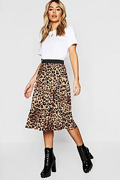 Petite Leopard Print Pleated Midi Skirt