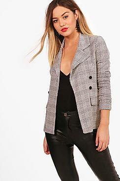 Petite  Check Button Sleeve Blazer