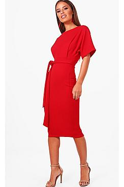 Petite  Tie Waist Formal Wiggle Midi Dress