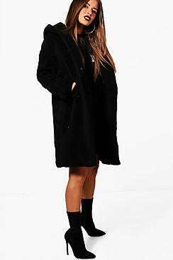 Se  Petite Oversized Hooded Teddy Coat ved Boohoo.com