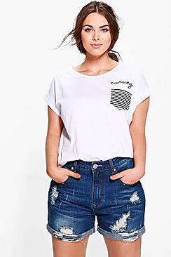 Se  Plus  Turn Up Denim Short ved Boohoo.com
