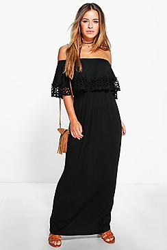 Petite Bardot Trim Detail Maxi Dress