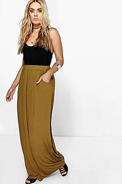 Se  Plus  Pocket Front Jersey Maxi Skirt ved Boohoo.com
