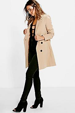 Se  Petite Double Breasted Camel Duster Coat ved Boohoo.com