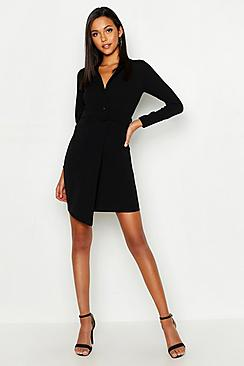 boohoo Tall Self Fabric Belted Blazer Dress