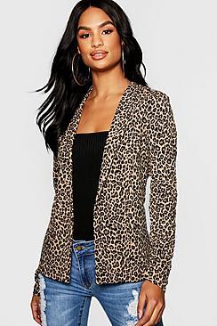 Se  Tall Leopard Print Blazer ved Boohoo.com