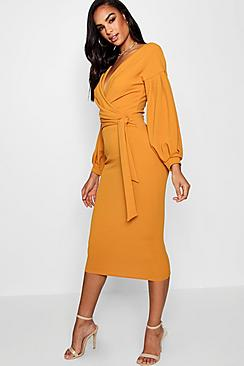 Se  Tall  Off The Shoulder Wrap Midi Bodycon Dress ved Boohoo.com