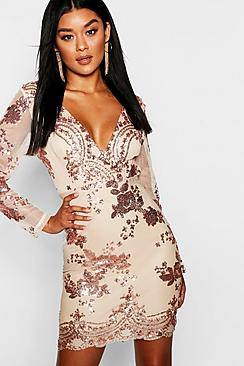 Boutique  Sequin Print Mesh Bodycon Dress