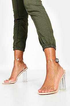 Se  Clear Block Barely There Heels ved Boohoo.com