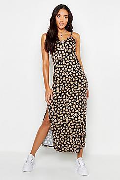 Se  Woven Leopard Maxi Slip Dress ved Boohoo.com