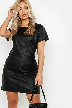 Plus PU Cap Sleeve Shift Dress
