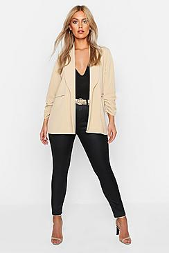 Plus Lapel Detail Ruched Sleeve Blazer