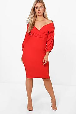 Plus Off The Shoulder Wrap Midi Dress