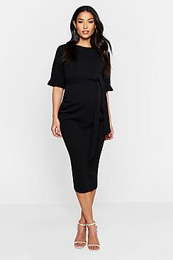 Maternity Ruffle Midi Bodycon Dress