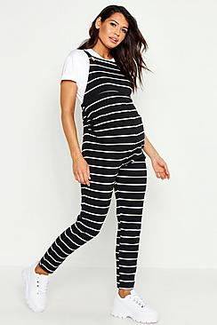 Maternity Jersey Stripe Dungarees