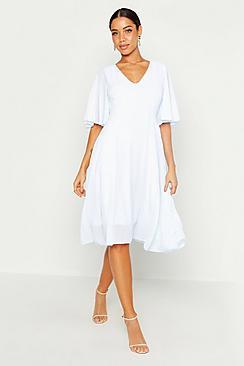 Cape Detail Chiffon Midi Dress