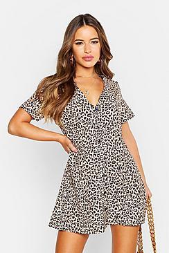 Petite Leopard Print Button Shift Dress