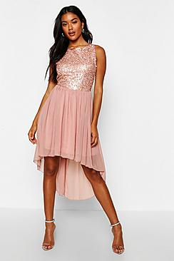 Sequin Chiffon Dip Hem Open Back Bridesmaid Dress