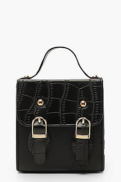 Croc Micro Mini Buckle Detail Cross Body Bag