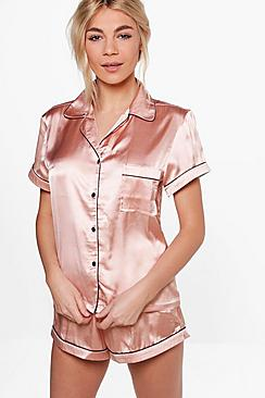 Satin PJ Short Set With Contrast Piping