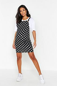 Maternity Polka Dot Pinafore Dress