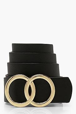 boohoo Plus Double Ring Detail Boyfriend Belt